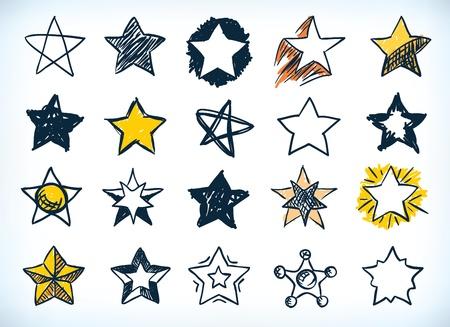 Colección de dieciséis estrellas handdrawn pluma y tinta en diferentes formas y diseños, algunos con un toque de luz de color amarillo, en blanco