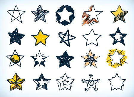 star shape: Collection of sixteen handdrawn pen and ink stars in various shapes and designs, some with a yellow highlight, on white Illustration