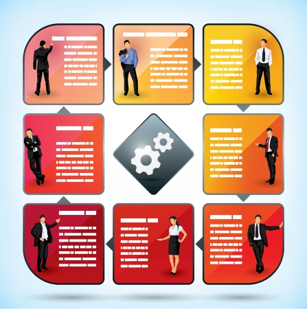 Business employee presentation chart with square text boxes for information concerning the different categories of employee and management within the company