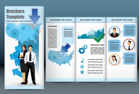 Trifold business brochure template with location map, information, analytical graph and management to employee statistics Vector