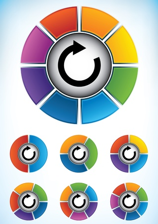 consecutive: Set of seven wheel diagrams with different colors and numbers of divisions or components with a central directional flow arrow to be used as a business presentation template