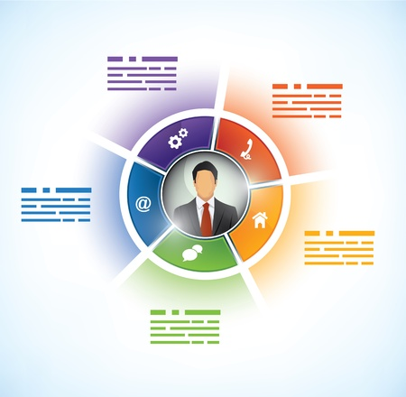 Five parts Presentation Template with a business persons avatar in the middle Stock Illustratie