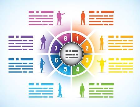 continuity: Cog or wheel diagram for a business presentation template divided into eight different colored numbered components showing employee statistics with people silhouettes and text space