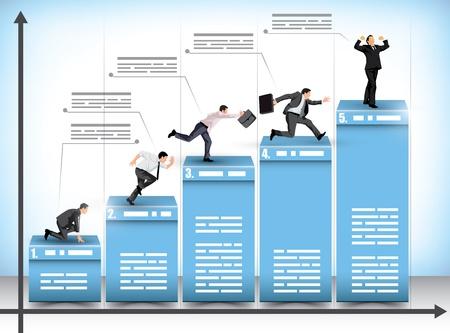 staaf diagram: Pictogram zakelijke presentatie staafdiagram met de ondernemers streven naar het volgende level te bereiken in een poging om de concurrentie te verslaan met de winnaar viert zijn prestatie