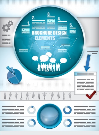 Brochure Design Elements with different diagrams, a world map, silhouette of a crowd and business people Vector