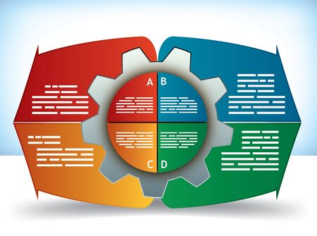 component parts: Cog Diagram presentation or brochure template with four component parts and text boxes in different colors