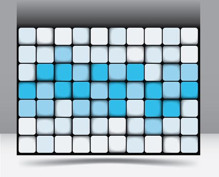 Abstract square background pattern with random shadings in blue graduating through to white of equilateral squares with rounded corners Stock Vector - 17731631