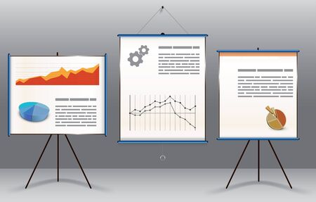 Business presentation concept with two display boards on stands with graphs, diagrams and text and a central hanging screen with statistical a graph and text on a graduated grey background Vector