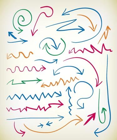 flechas curvas: Conjunto de flechas dibujadas a mano en varios colores con tintas de zig zag, floritura, ondulado, y las líneas curvas que conducen a la punta de flecha Vectores