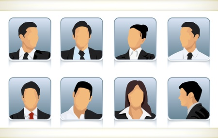 Template illustration of eight faceless or featureless head and shoulder portraits for male and female businesspeople in business attire