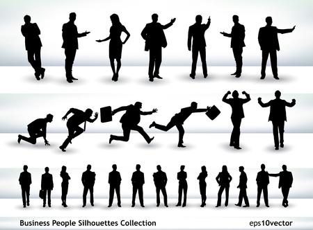 Colección de gente de negocios describe en diferentes posiciones, sobre todo en el tema de la presentación y ejecución
