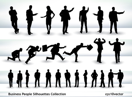 Collection of business people outlines in different positions, mainly in the theme of presentation and running