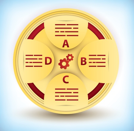 Infographic cog or wheel presentation diagram template with four component sections for use in advertising, marketing, internet, brochure, statistics or business presentation Stock Vector - 17731644
