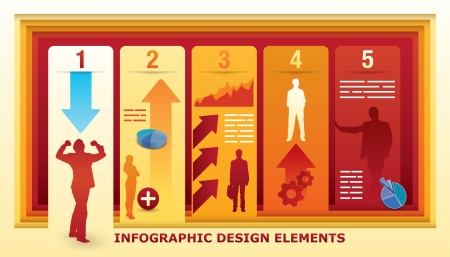Infographic Design Elements with five fields in an illusion of a perspective Vector