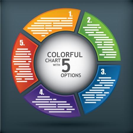 camembert graphique: Mod�le de sch�ma de pr�sentation avec cinq options et une sph�re au milieu pour le titre