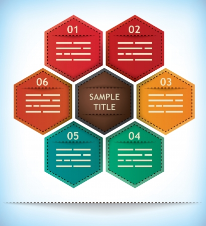 Hexagonal presentation template with six options and one element in the middle for title Vector
