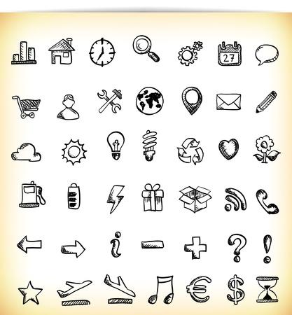 earth in hand: Conjunto de 42 dibujado a mano icono en diferentes temas, como el trabajo, los negocios, la ecolog�a, el tiempo y los s�mbolos Vectores