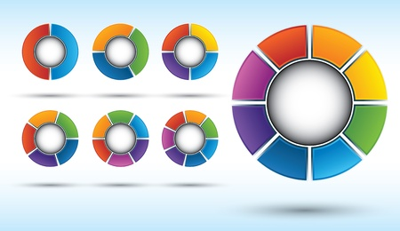 6 7: Segmented and multicolored pie charts set from two to eight divisions