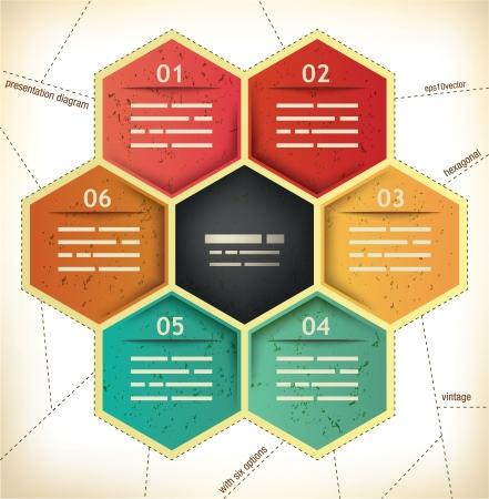 diagrama procesos: Plantilla de presentaci�n del vintage con seis espacios hexagonales para diferentes datos