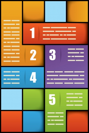 Five options square numbered presentation template with space for additional info Vector