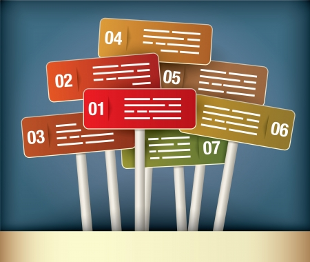 Presentation Diagram with seven different colored signpost Vector
