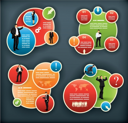 Een infographic template voor corporate en business met sferische elementen en mensen illustraties
