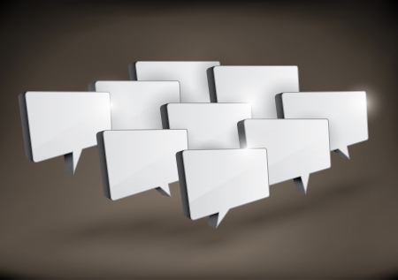 shadowed: Various 3D rectangular speech bubbles arranged in a group  Illustration
