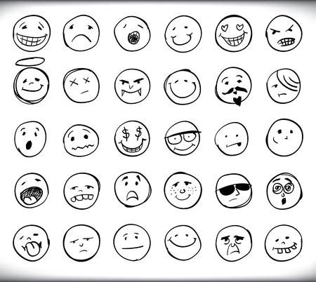 caras emociones: Conjunto de treinta dibujado a mano emoticonos o smileys cada uno con una diferente expresión facial y la emoción, dibujó líneas en blanco