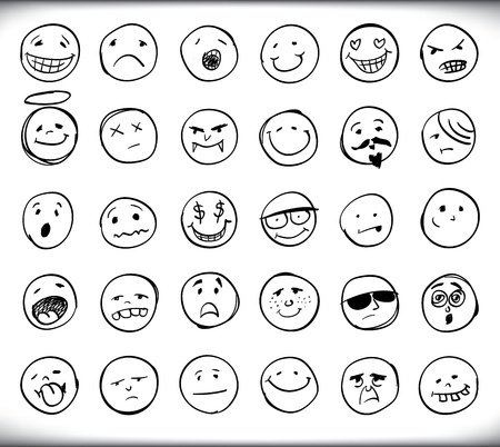 Set of thirty hand drawn emoticons or smileys each with a different facial expression and emotion, sketched outline on white Illustration