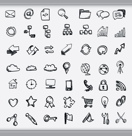 Collection of hand drawn icons representing a diversity of topics including communication, graphs, weather and business sketched in ink on white paper Illustration