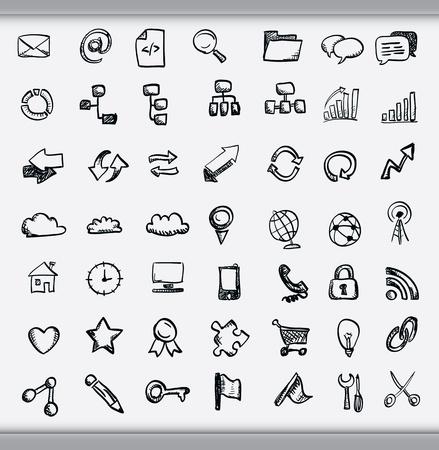 témata: Kolekce ručně tažených ikon představujících rozmanitost témat, včetně komunikace, grafů, počasí a podnikání nakreslil inkoustem na bílém papíře Ilustrace