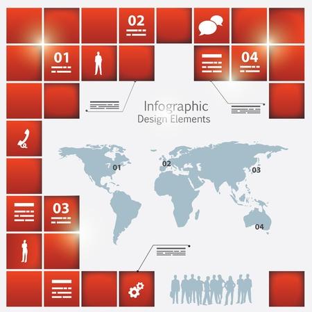 Bir dünya haritası ve etrafında farklı derinlik kare elemanları ile bir infografik şablonu Illustration