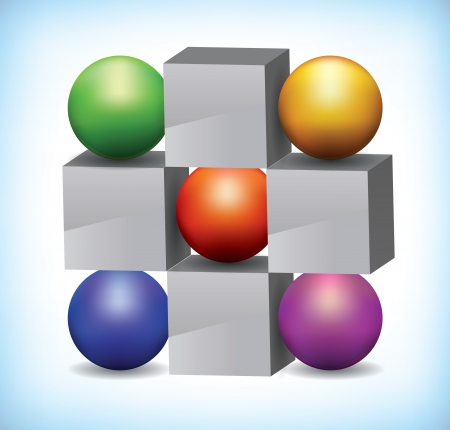3D illustration of colored spheres next to grey cubes used as presentation template, or infographics