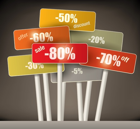deal: 3d selection of multicolored discount signs on poles with a variety of different percentages grouped together on a graduated brown background Illustration