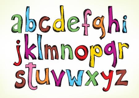 다채로운 손으로 흰색에 고립 된 소문자 알파벳 글자의 전체 세트로 그린 그림