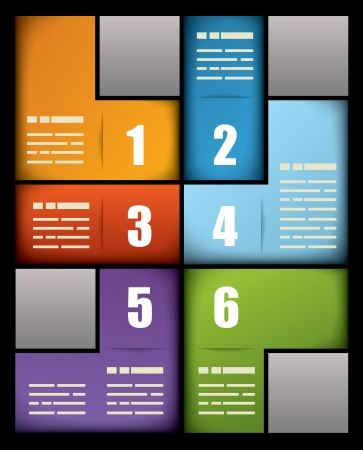 six web website: Colorful business print presentation template with six numbered text boxes in different colors arranged in an interlocking pattern to form a rectangle