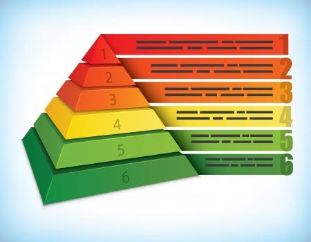 jerarquia: Plantilla de presentaci�n piramidal con seis pasos, se puede utilizar para la ecolog�a y otros conceptos de marketing