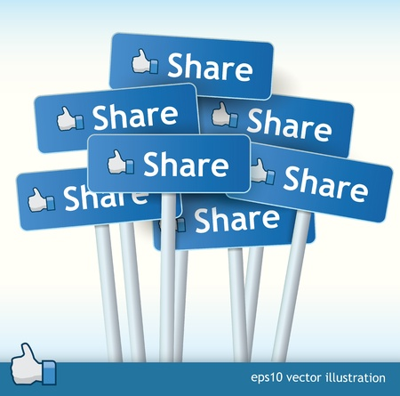 like button: 3d vector signposts with the text share on them and a thumb up for liking concept