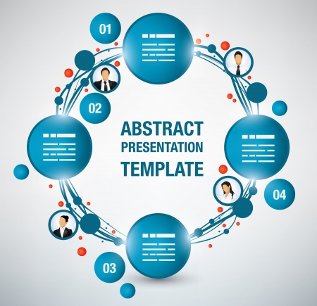 Modern presentation template with four options and avatars, fully editable, more sections can be added easily