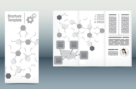 Abstract brochure template with a hexagonal pattern and a map with explanation boxes Vector