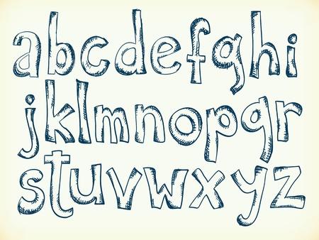 Sketchy pen drawn cartoon letters of the alphabet Stock Illustratie