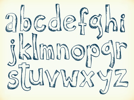 Sketchy pen drawn cartoon letters of the alphabet Vector