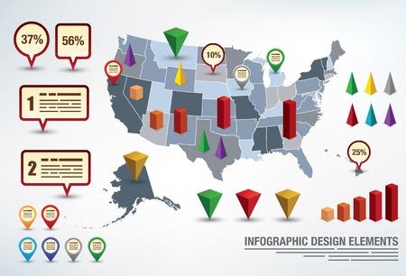 Modèle de présentation infographique avec une carte des Etats-Unis et des éléments différents pour les statistiques Vecteurs