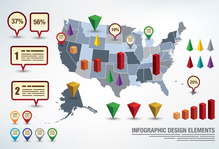 Infographic presentation template with a map of the united states and different elements for statistics