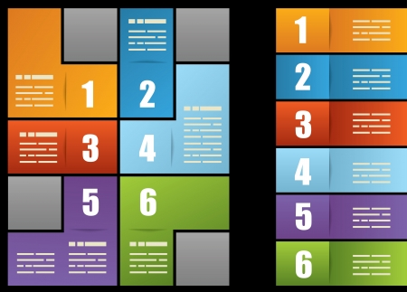 six web website: Presentation template with six different fields and space for text