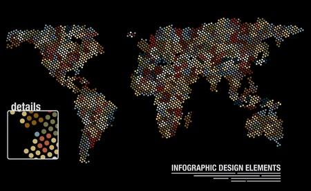 Birçok çevrelerden oluşturulan bir dünya haritasının İnfografik tasarım şablonu