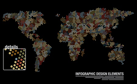 Infographic design template of a world map created from many circles Ilustrace
