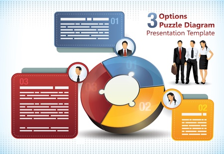 Three sided puzzle presentation template with additional elements for brochure designs of info charts Stock Illustratie