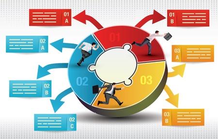 사업가 상징 경쟁을 실행하는 세 양면 비즈니스 인포 그래픽 템플릿