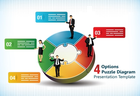 Four sided puzzle presentation template with business people silhouettes and text fields used in commercial designs 일러스트